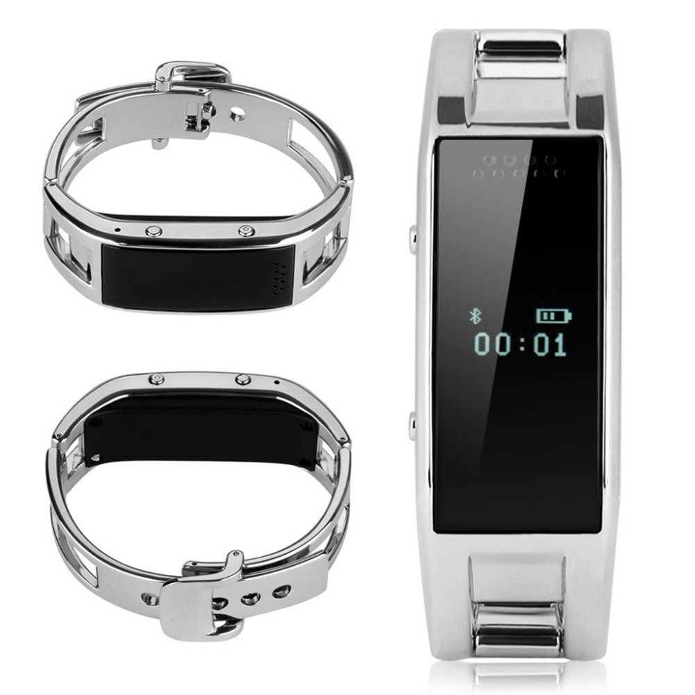 Elephone W1 OLED MTK6260 Bluetooth Phone Smart Watch Wristband Bracelet Watches Sync Call SMS Music For IOS iphone (Part Function) Android (Silver)