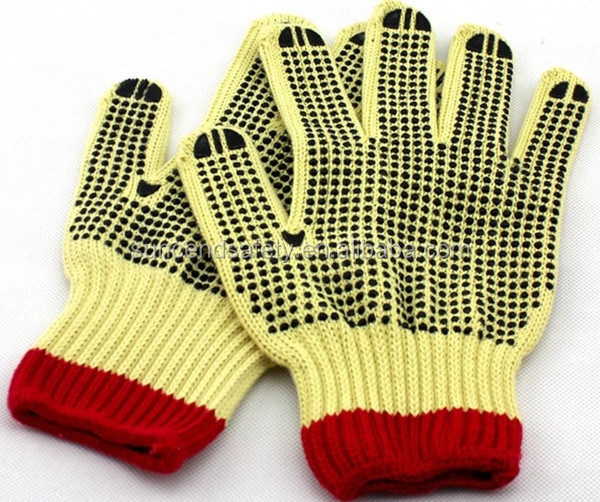Kevlar Aramid Fiber knit Glove with 2 Sided Black PVC Dots, Cut Resistant factory direct supply