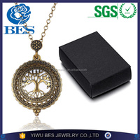 Fashion Jewelry Creative Magnifying Glass Vintage Gold Medallion Tree of Life Pendant Necklace