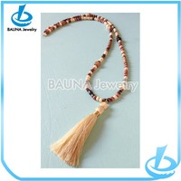 High quality long tassel wood bead necklace