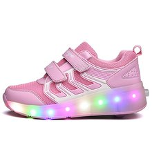 Unisex KID Children Fashion Lighting LED Flashing Roller Skate Sneakers with Single Wheel Double Wheels