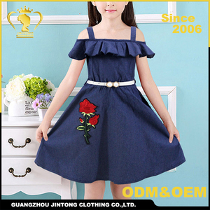 hand embroidery designs smart casual girl denim dress for girls kids