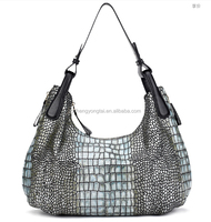 2016 fashion good quality snake skin hobo tote elegant leather bag with animal pattern