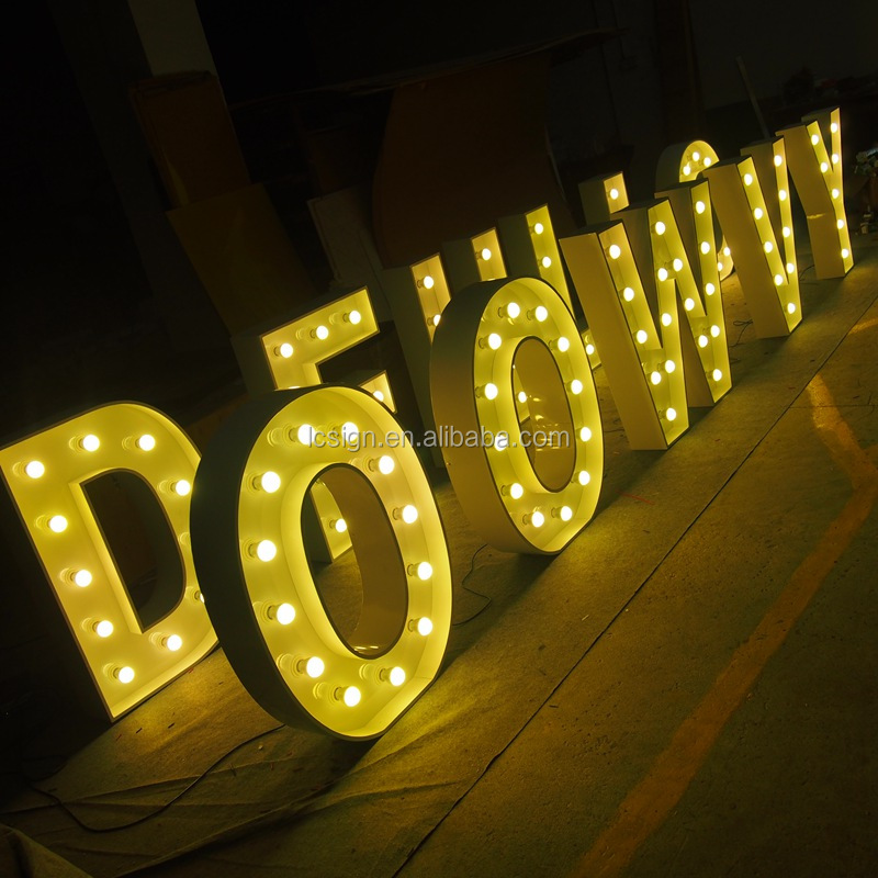 High quality LED front lit large bulb letter signs/wedding decoration light up letters for sign led letter sign