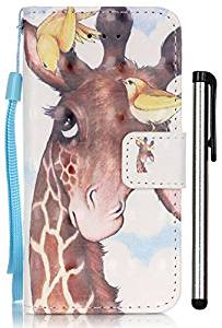 iPhone SE Case,iPhone 5/5s/SE Case Wallet,[3D Painting] Cartoon Giraffe Premium PU Leather Flip Pouch Magnetic Closure Protective Shell Wallet Case Cover with Stand for iPhone 5/5S/SE/5SE Bird Deer