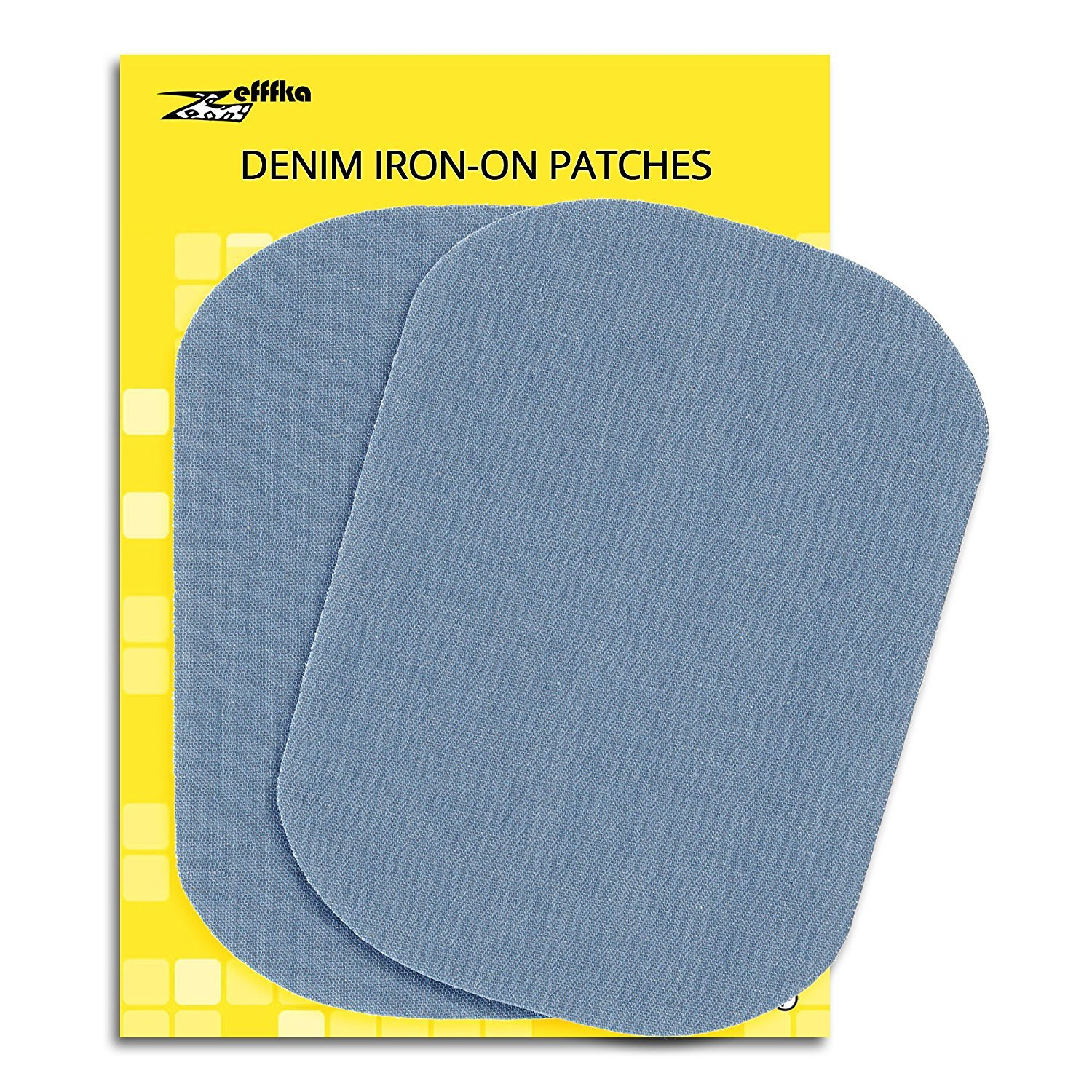 "Zefffka Denim Iron On Jean Patches No-Sew Light Blue 2 Pieces Elbow Knee Cotton Jeans Repair Kit 5"" by 7"""
