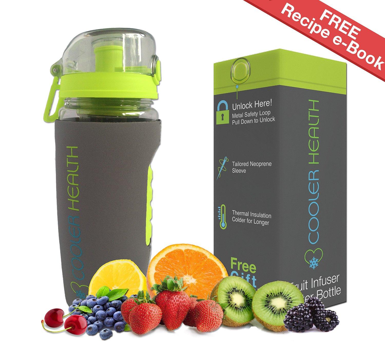 dfbf93edb5 Fruit Infuser Water Bottle - FREE Infusion Recipe eBook & Anti Sweat Sleeve  - 32oz -