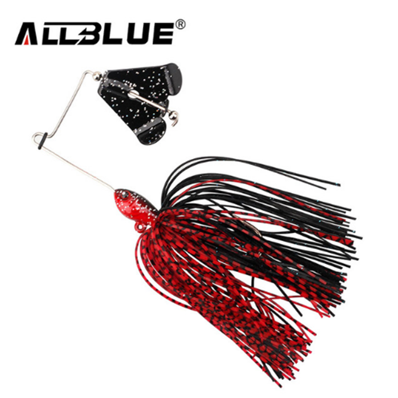 AllBlue Lead Head Jigs Buzzbait 12.5g Spinnerbait Metal Topwater Fishing Lures Silicone Skirt Artificial Spinner Buzz Bait