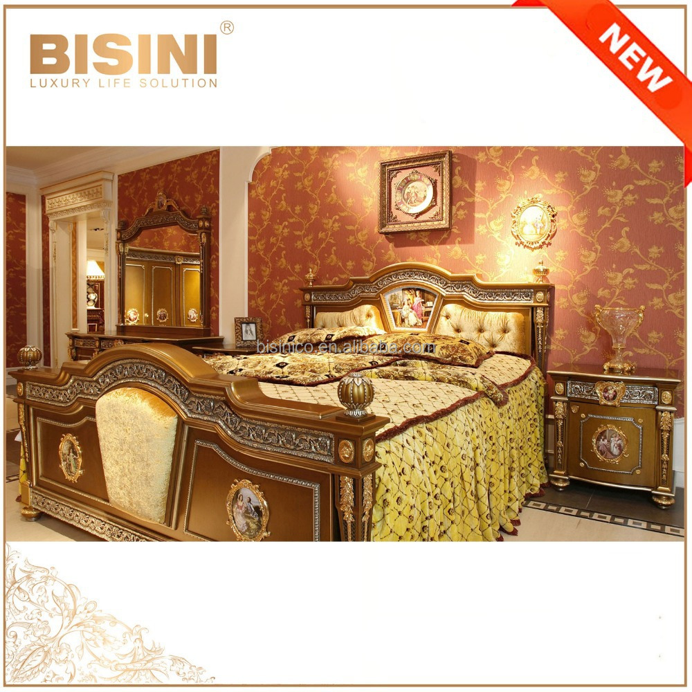 French Rococo Style Golden King Size Bed Fantastic Royal Brass Mounted Wooden Carved Palace Classic Bedroom Furniture