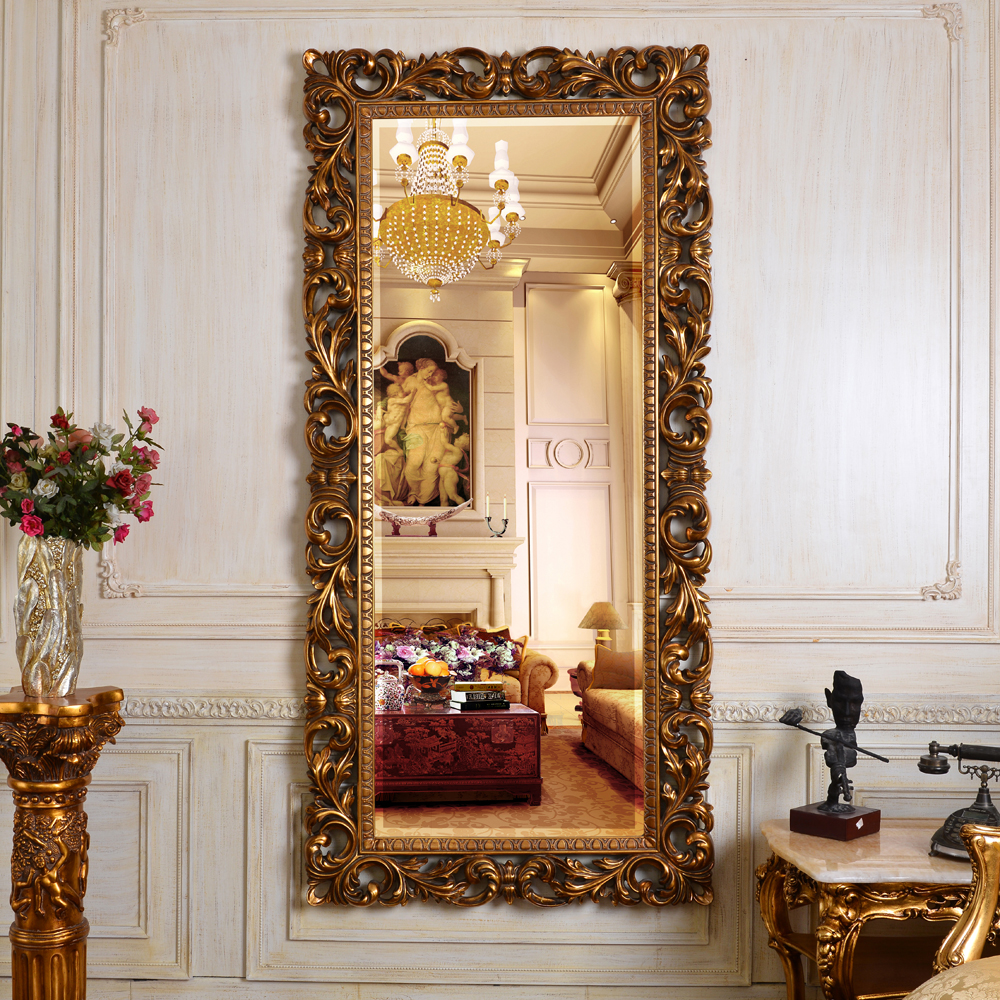 Pu613 china factory full length big antique gold for Decorative wall mirrors for sale