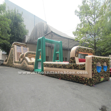24m long adults boot camp military inflatable obstacle course with 3 parts from Guangzhou Inflatable factory