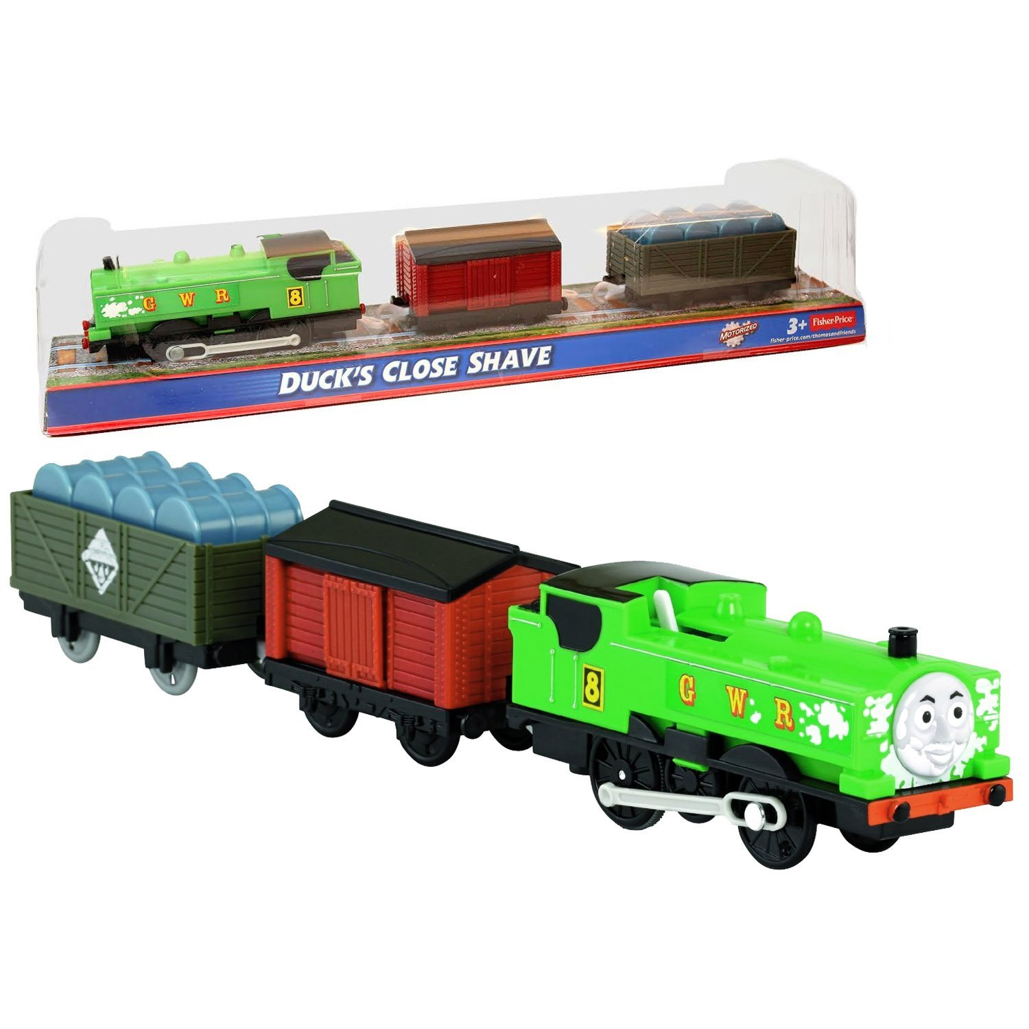 "Fisher Price Year 2013 Thomas and Friends Greatest Moments Series Trackmaster Motorized Railway Battery Powered Tank Engine 3 Pack Train Set - DUCK'S CLOSE SHAVE with Duck Motorized Engine, Red Caboose and Freight Car Loaded with ""Barrels"""
