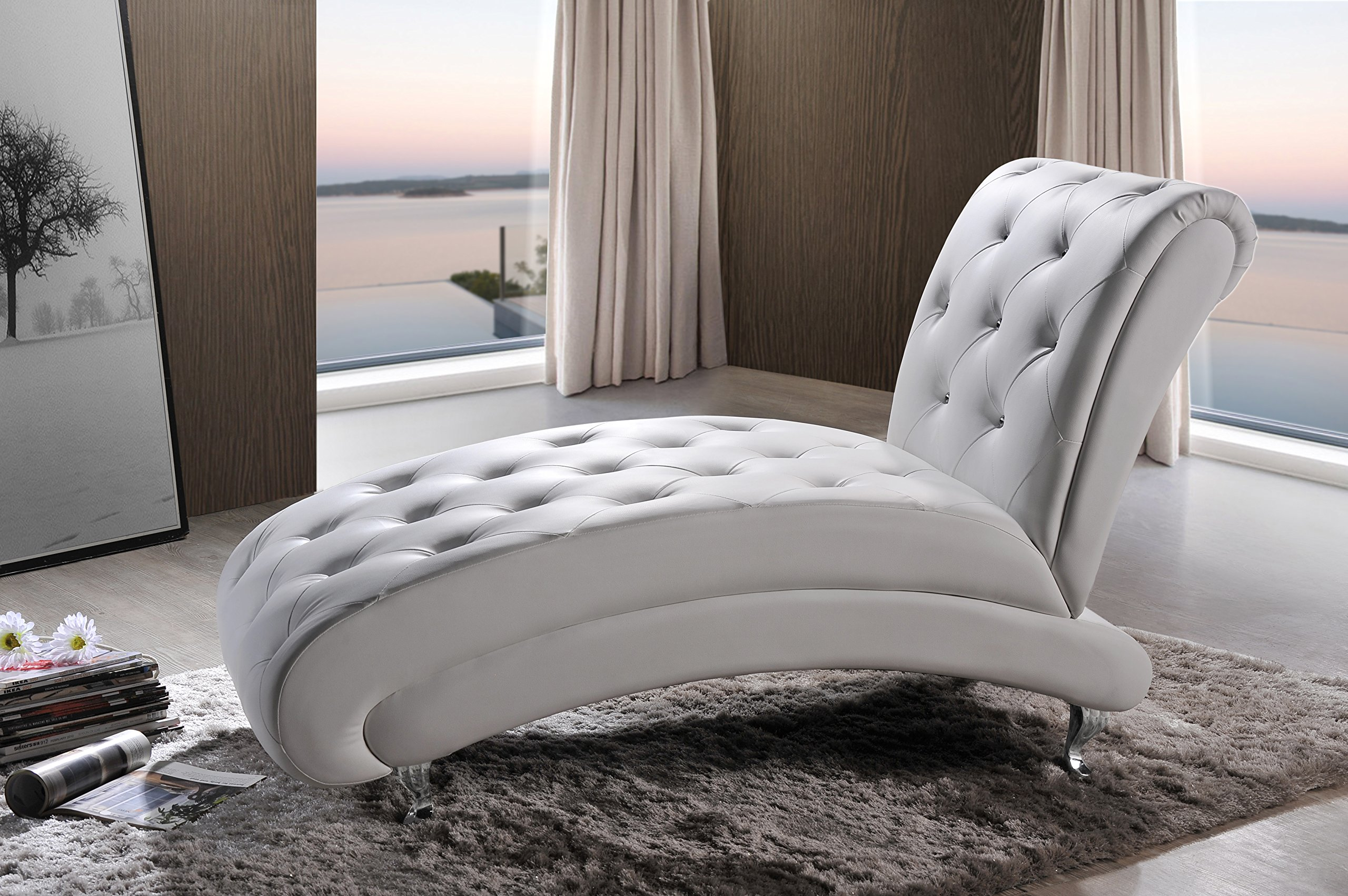Baxton Studio Pease Contemporary Faux Leather Upholstered Crystal Button Tufted Chaise Lounge, White