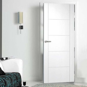 White primer molded mdf solid rubber wood doors price