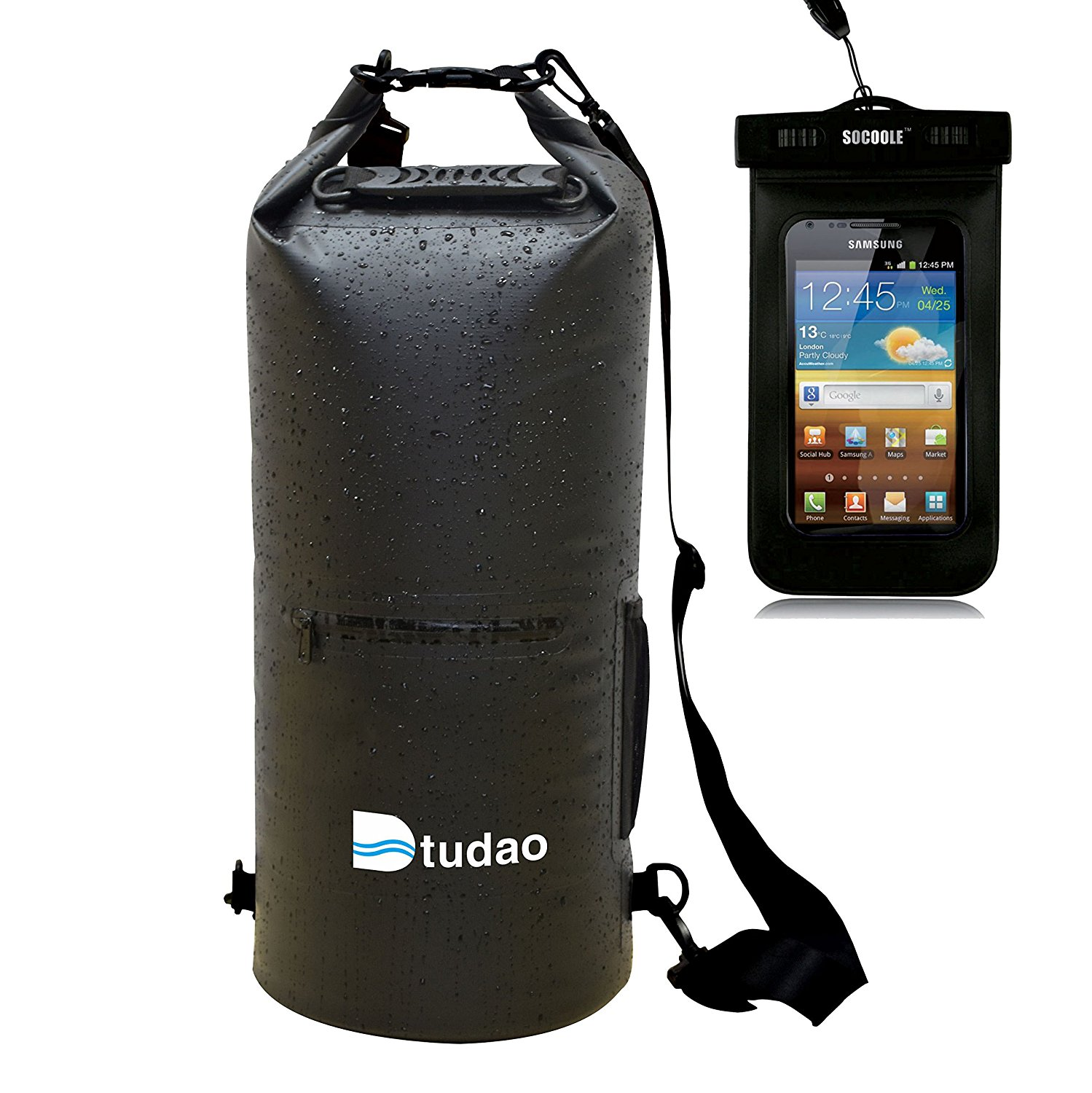 100% Waterproof 10L/20L/30L Multipurpose Waterproof Dry Bag Roll Up Dry Sack With Both Shoulder Straps, Phone Pocket & Bottle Holder As Waterproof Backpack,Perfect for Cano Kayaking Swim Beach Hiking Boat Sailing Camping Fishing Snowboarding, Free 6 inch Waterproof Bag Included.