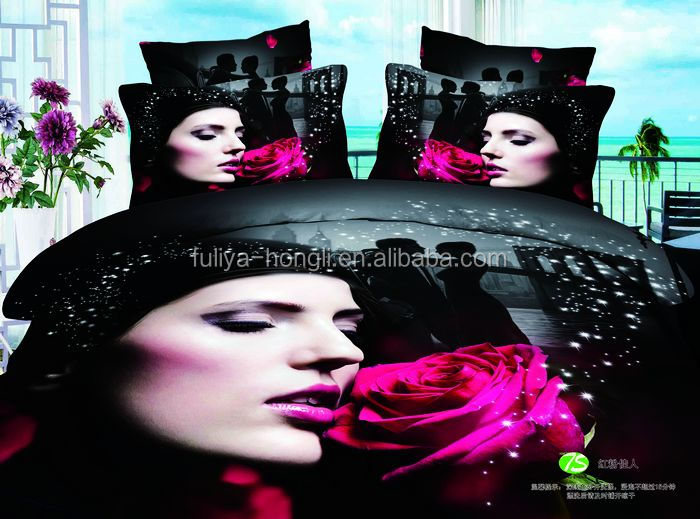 pure Cotton Flower Design Bedding Sets Fabric 3D Bedsheets