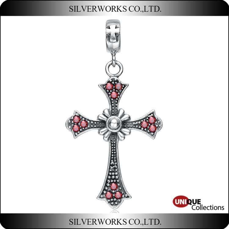 Women vintage Cross pendant with red zircon old European 925 sterling silver charms