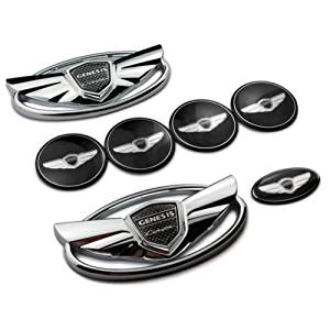 7pcs Set of New 3D Chrome Silver Genesis Wing Front Grille, Rear Trunk, Steering Wheel and Four Wheel caps stickers Rims Badge Emblem Sticker For Hyundai Genesis CoupeUS Stock