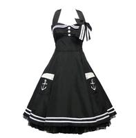 Factory Dress OEM Black Halter Neck Evening Dresses with Vintage