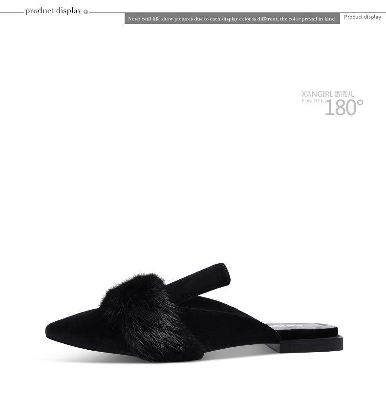 New design pointed toe mules flat sole fur sandals for women