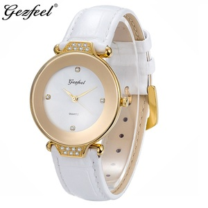 Stainless steel case fashion women watch Luxury Gold plated lady genuine leather watch
