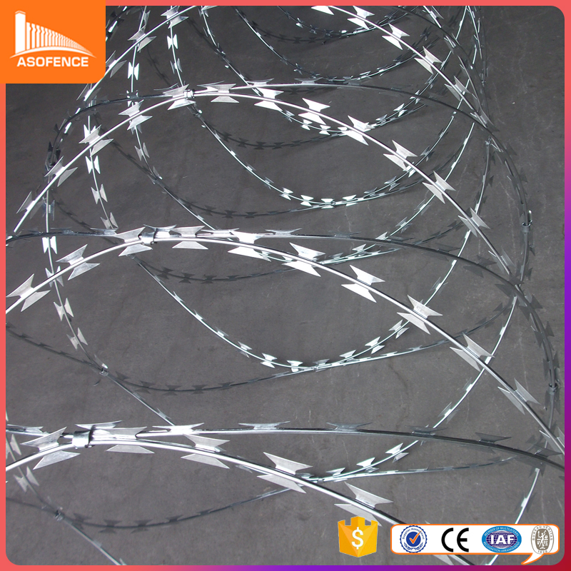 Galvanized material 500mm coil diameter razor barbed wire bto-22 450mm razor wire