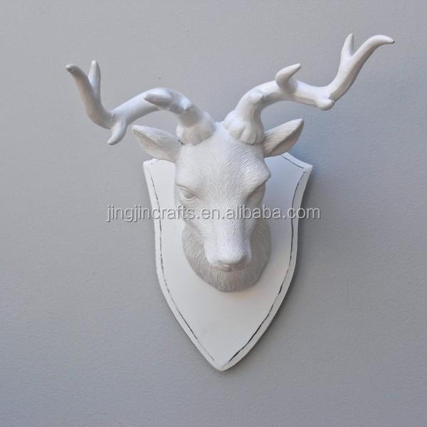 Small White Resin Deer Head Wall -mounted White Deer Head - Buy Wall ...