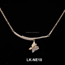 China Jewelry Factory Custom Latest New Design Raw Brass Copper Alloy Butterfly Choker Necklaces