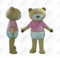 pink T shirt bear mascot costumes teddy bear walking actor