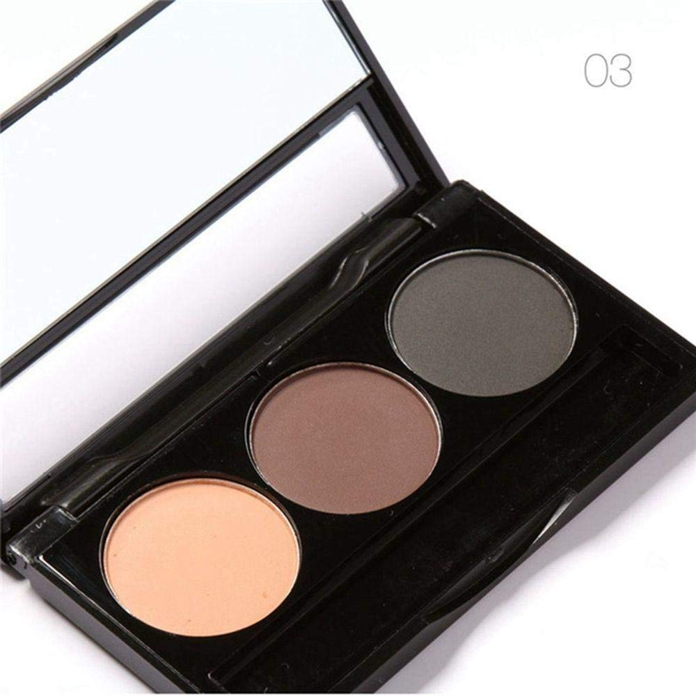 Aiweikang 3 Color Set Hot Sale Cosmetic Beauty Eye Shadow with Brush Makeup Palette Brow Wax Eyebrow Powder