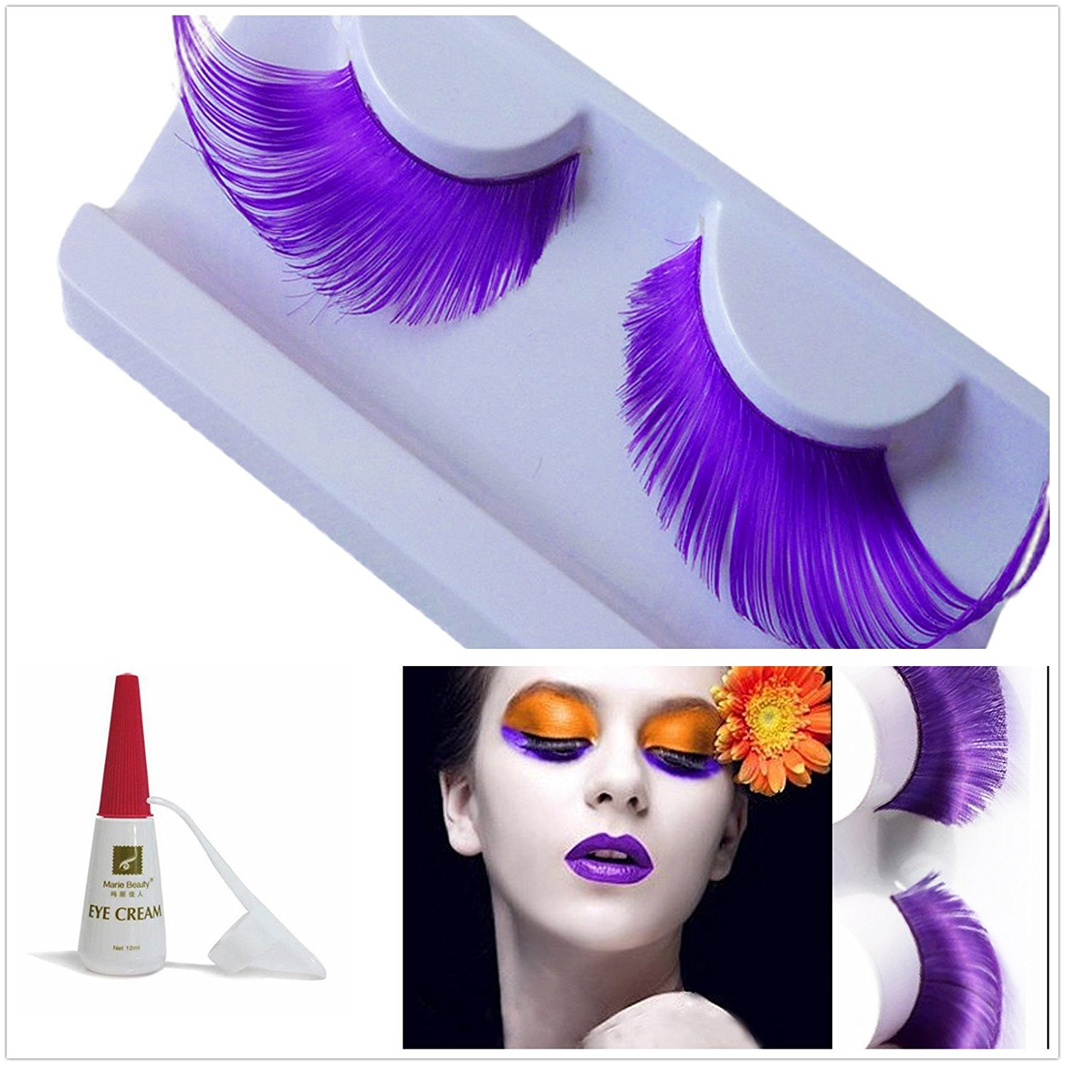 94a9371249c Get Quotations · Beauty II Girl Fancy Dress Dance Party Makeup  Multi-colored False Eyelashes Eye Lashes Extra