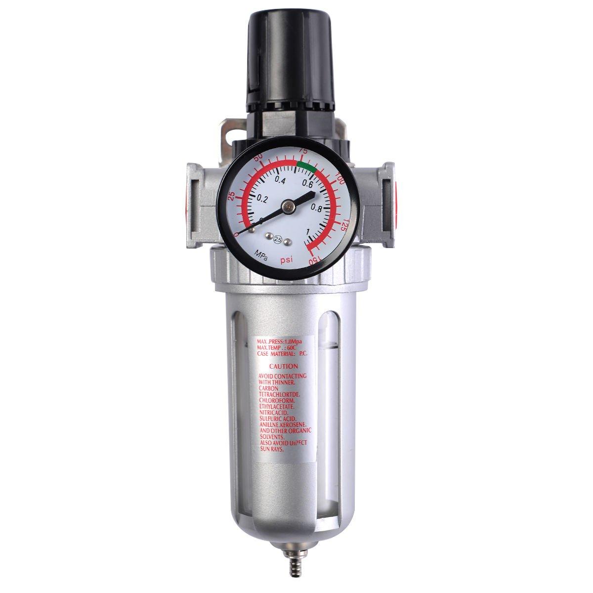 SFR300 Air Pressure Regulator Filter Water Separator w/ Pressure Gauge