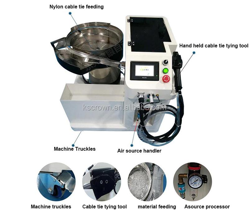 Automatische fütterung mit gun bewegliche nylon draht kabel twist krawatte und bindung maschine