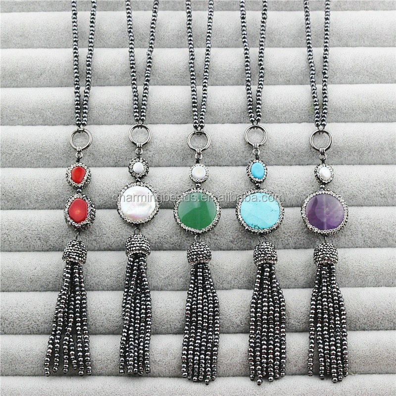 CH-JBN0105 pave crystal pearl bead pendant necklace,fashion glass bead tassel charm necklace,wholesale turkish jewelry necklace