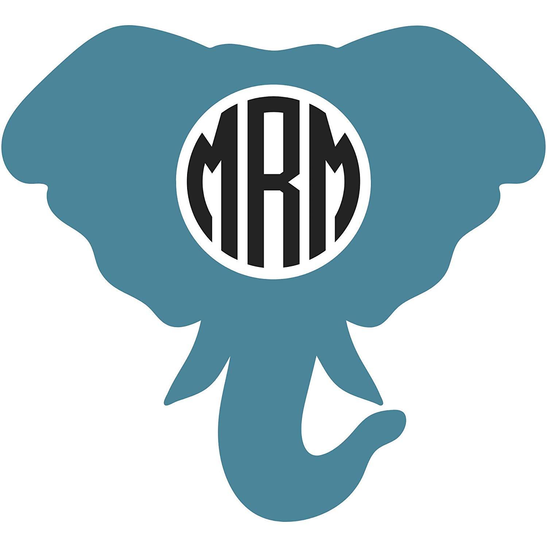 Custom Elephant Monogram Vinyl Decal Tumbler Car Window Wall Sticker