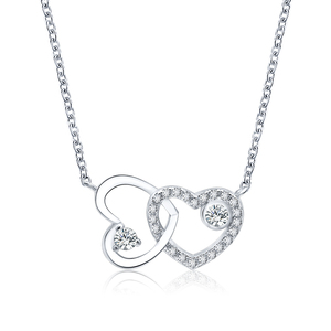 POLIVA Fashion 925 Sterling Silver Diamond Cubic Zirconia Eternity Love Double Heart Silver Heart Necklace