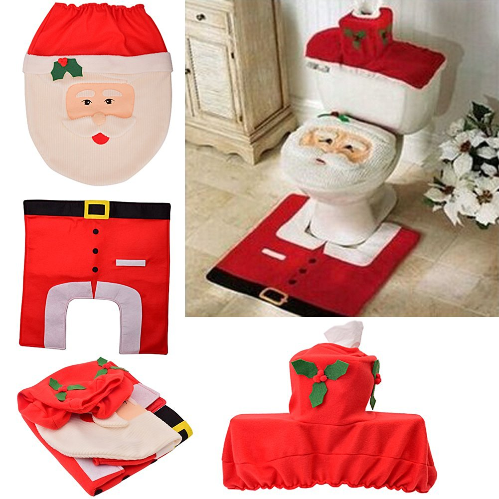 Get Quotations DEDC Christmas Gifts Santa Toilet Seat Cover Bathroom Sets With Cute Tank And Rug Red