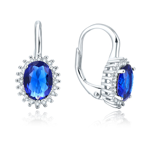 POLIVA New Design Simple Fashion Baroque 18K White Gold Plated Gemstone Zircon Crystal Diamond 925 Sterling Silver Earring