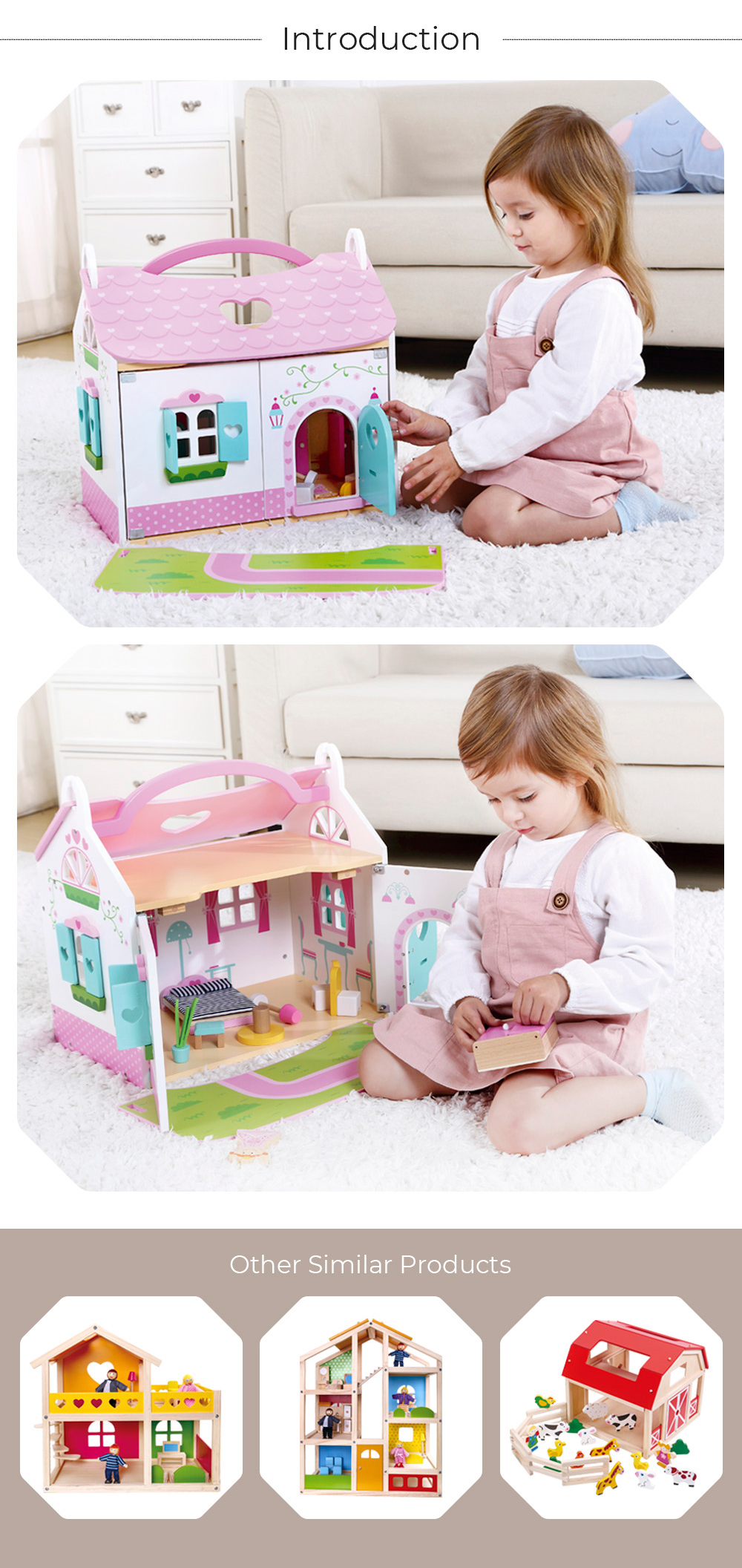 Hot sale intelligence wooden toy doll house