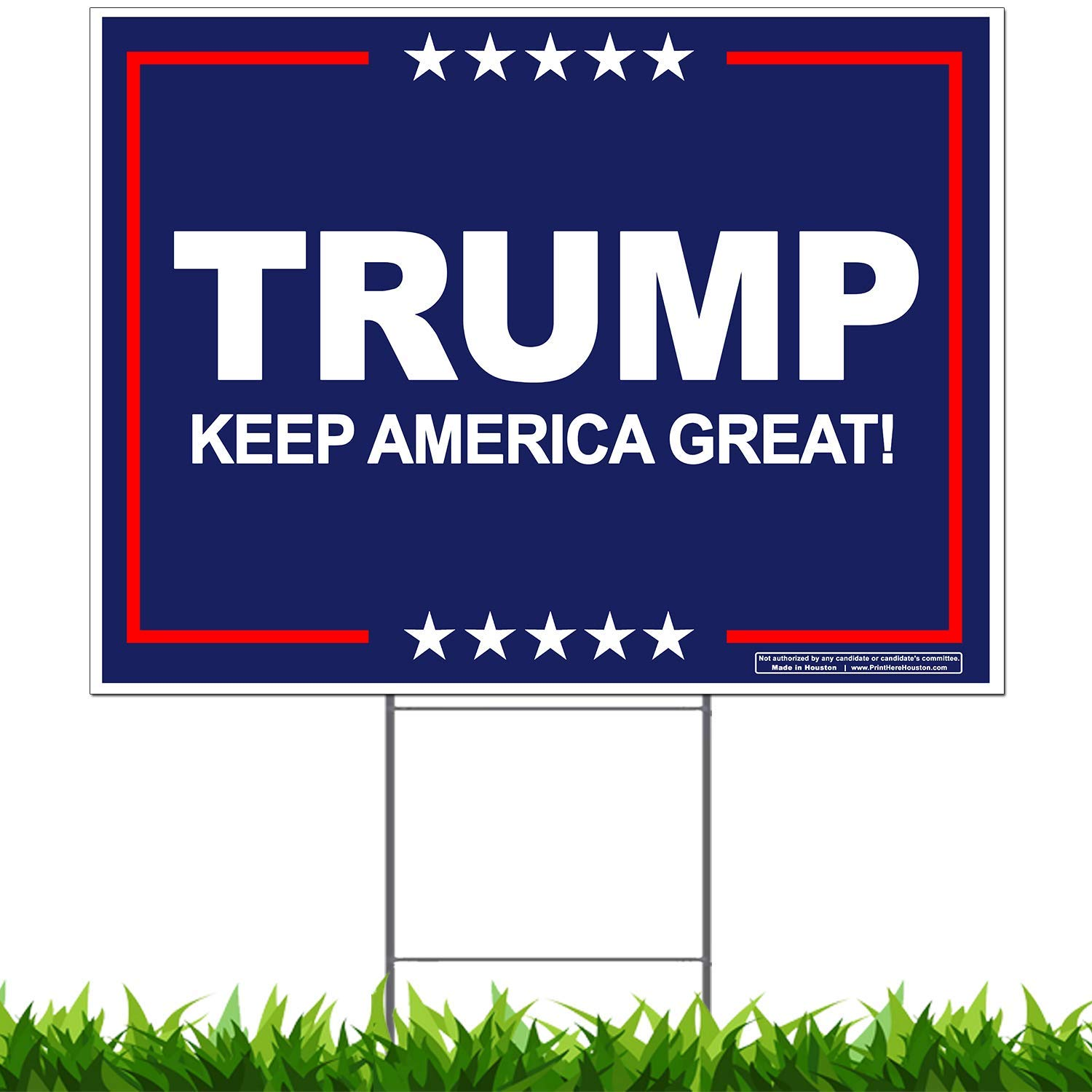 "Vibe Ink President Trump - Keep America Great! - 2020 Campaign Yard Sign (24""x18"") Include Metal Stake"