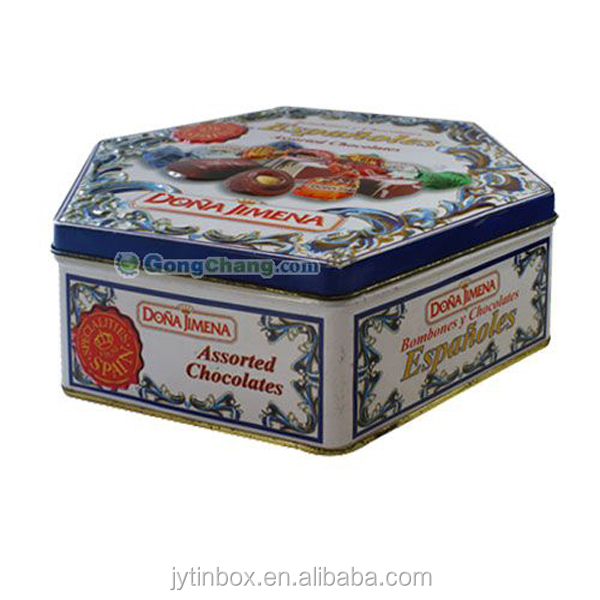 nice can Hexagonal cookie tin can for sale