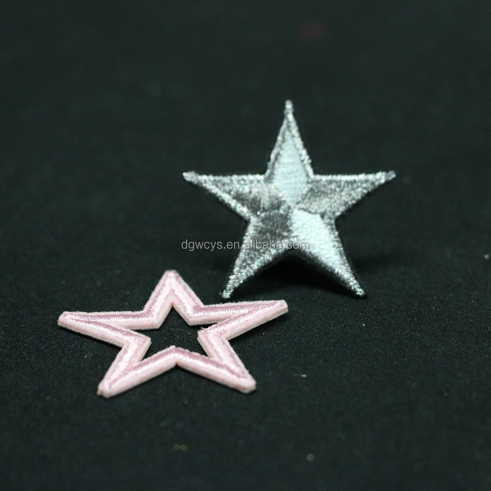 Custom high quality shinning sliver star hand embroidered bullion jacket patches