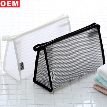 Korean Style Black Mesh Clear Cosmetic Makeup Bag Toiletry Bags With Zipper For Men And Women