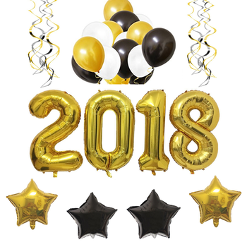 gold and black 2018 foil balloon hanging swirl decoration