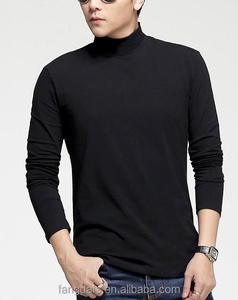 Fashion man cotton private label blank long sleeved black T-shirt wholesale