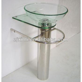 De alta calidad de ba o de vidrio templado lavabo de pedestal de vidrio transparente con soporte - Vidrio plastico transparente precio ...