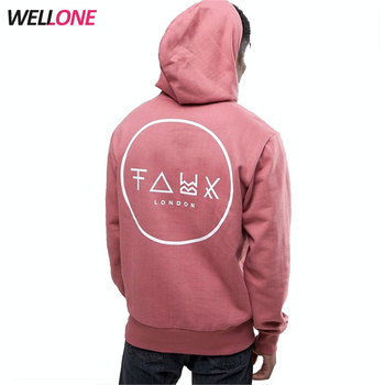 Wellone windproof winter pullover fashion 100% fleece cotton 350grams custom printing pink hoodies for men