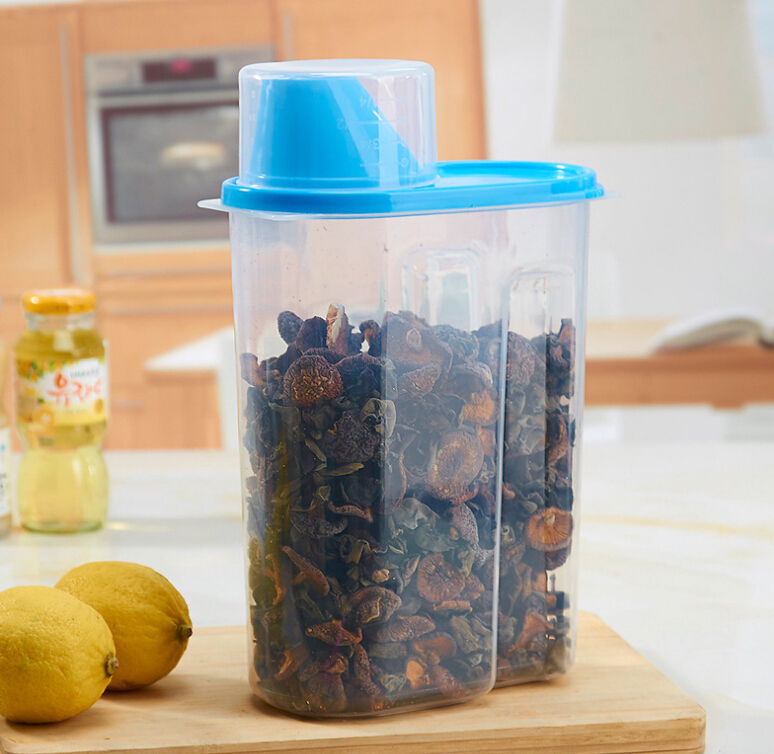 Cereal food grain storage containers bin dispenser jar with measuring cup