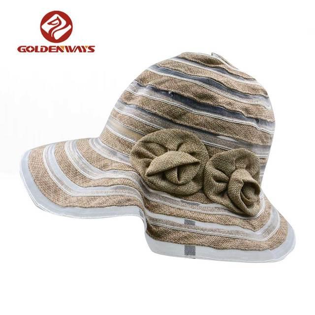 7b8b42929cca7 fashionable linen lady s wide brim bucket hat