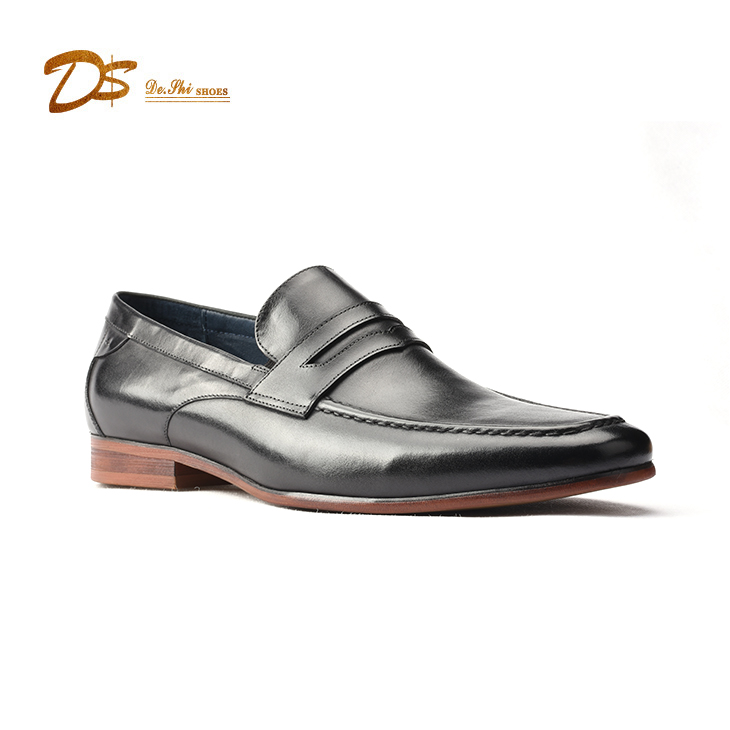 Factory hot sales stylish mens slip on dress shoes genuine leather dress shoes